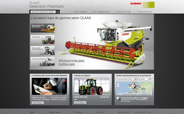 Photo du Sites internet de matériels agricoles d'occasion Claas Selection Premium